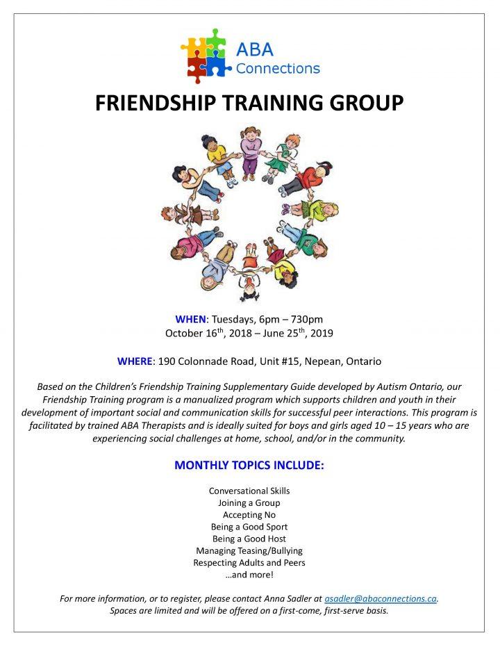 2018-2019 Friendship Training Flyer