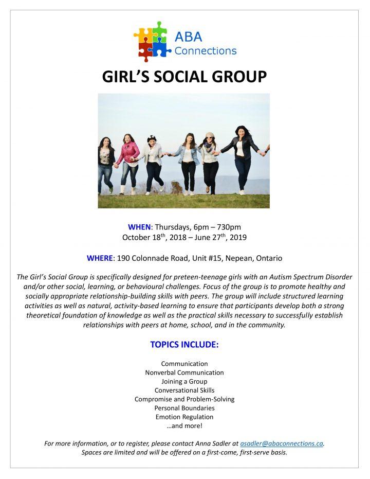 2018-2019 Girls Social Group Flyer