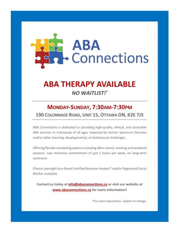 ABA Therapy Available Flyer March 2019