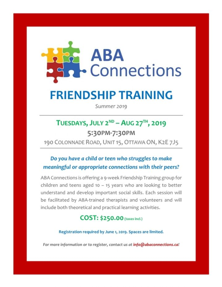 Friendship Training Summer 2019 Flyer
