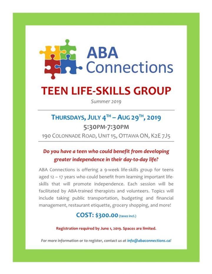 Teen LifeSkills Summer 2019 Flyer