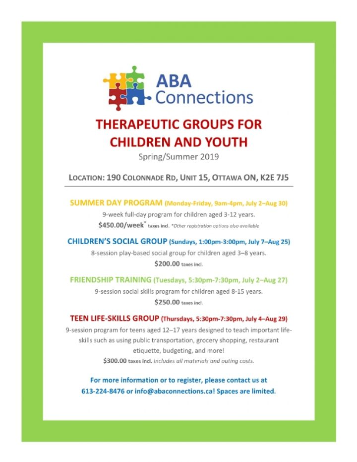 Upcoming Therapy Groups Flyer April 2019